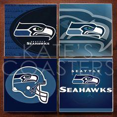 Set of 4 Seattle Seahawks NFL ceramic tile coasters by KatesCoasters, $10.00