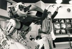 Paul Verhoeven acts out a sequence as ED-209 on the 1986 set of ROBOCOP