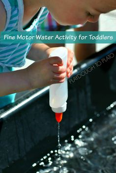 With the summer heat coming on in full force, it's time to cool off with a fun fine motor water activity designed specifically for toddlers! Fine Motor Activities For Kids, Motor Skills Activities, Gross Motor Skills, Sensory Activities, Learning Activities, Preschool Activities, Sensory Play, Children Activities, Sensory Bins