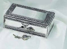 Wedding Gift:ANTIQUE SILVER JEWELRY BOX WITH JEWELED LOCK
