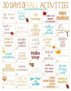 30 Days of Fall Activities for the Whole Family (free printable)