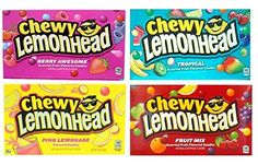 Lemonhead Chewy Movie Theater Box 4 Flavor Variety Bundle: (1) Berry Awesome, (1) Tropical, (1) Pink Lemonade, and (1) Fruit Mix, 5 Oz. Ea. (4 Boxes Total)