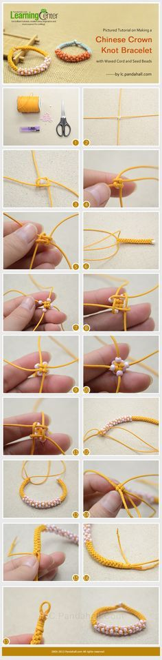 Pictured Tutorial on Making a Chinese Crown Knot Bracelet with Waxed Cord and Seed Beads .