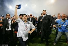 Maradona returned to Naples 14 years after leaving and waves to fans at the San Paolo stadium