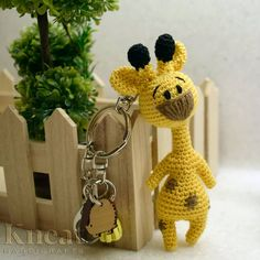 Amigurumi Giraffe Keychain. Pattern by Diana Moore of PinkMouseBoutique. @pinkmouseboutique Made by Kneat Handicrafts. #pinkmouseboutique… Diana, Handicraft, Giraffe, Crochet Earrings, Boutique, Christmas Ornaments, Holiday Decor, Pattern, Handmade