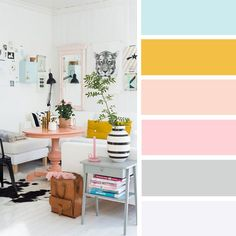 14 ideas Brighten up your room with yellow mustard color, blue and mustard , blush and mustard , mustard peach + light blue and blush #color #mustard