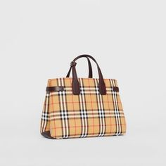 0edc966302e6 The Medium Banner in Vintage Check and Leather in Deep Claret - Women