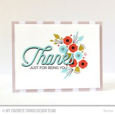 Handmade card from Torico featuring the Kind Thanks stamp set and Twice the Thanks Die-namics #mftstamps