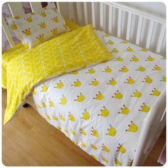 3 Pcs 100% Cotton Crib Baby Bedding Set- Pillowcase Bed Sheet Duvet Cover -10 Patterns available