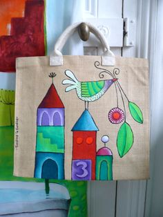 VK is the largest European social network with more than 100 million active users. Sacs Tote Bags, Cute Tote Bags, Hessian Bags, Jute Bags, Painted Canvas Bags, Jute Crafts, Painted Clothes, Sewing To Sell, Fabric Bags