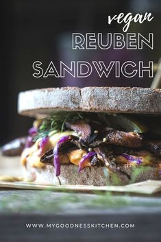 Oh, my goodness. Spiced mushrooms, a quick sauerkraut, Russian dressing and pickles on toasted rye. This vegan Reuben sandwich is lip-smaking good. A delicious sandwich that happens to be vegan | www.mygoodnesskitchen.com | #veganReuben #vegansandwiches #veganrecipes #vegancooking #veganfood