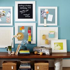 Frame chalkboards, pegboards, and magnet boards to form an all-in-one bulletin board for your walls: http://www.bhg.com/decorating/storage/organization-basics/slivers-of-space-storage/?socsrc=bhgpin022314walls&page=10