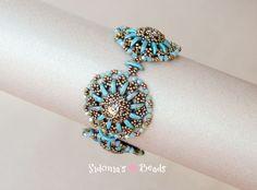 *P 2-hole Crescent beads bracelet beading tutorial.  DOWNLOADABLE PRODUCT