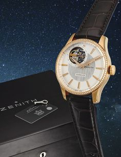 Zenith  A LIMITED EDITION PINK GOLD AND DIAMOND-SET AUTOMATIC TOURBILLON WRISTWATCH NO 02/50 CAPTAIN TOURBILLON CIRCA 2010
