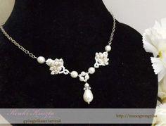 Egyedi tervezésű nyakék esküvőre, Swarovski kristályokkal - rendelhető
