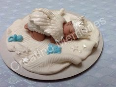 Fondant Baby Boy with Angel Wings Cake Topper/Cake Supplies/Baby Boy Cake Topper/flower/baby Girl/Easter Topper