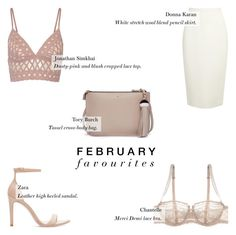 """February Favourites '16 - Fashion"" by rachaelselina ❤ liked on Polyvore featuring Tory Burch, Donna Karan, Zara, Chantelle and Jonathan Simkhai"