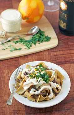 Chianti Braised Short Ribs over Pappardelle with Horseradish Cream. **Old school Italian.