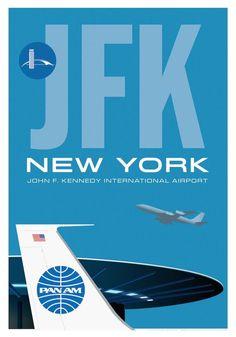 Pan Am travel poster for flights from JFK Airport Retro Airline, Airline Travel, Vintage Airline, Air Travel, Airline Logo, Gig Poster, Vintage Advertisements, Vintage Ads, Jfk News