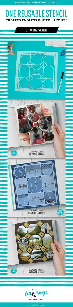 Easily scrapbook multiple pictures together to tell a story using a reusable stencil like this Octagons template