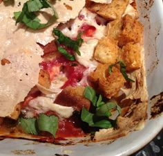 Allergy Free Chicken Parm casserole with gluten free garlic croutons. substitute EVOO, note: can buy thinly sliced Daiya mozzarella at WF deli counter or buy wedges and slice thin myself.