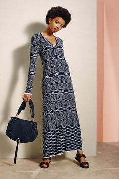 See by Chloé | Spring 2016 Ready-to-Wear | 18 Navy printed knit long sleeve maxi dress