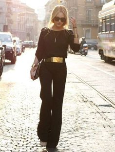 Jumpsuit with golden belt! black elegant