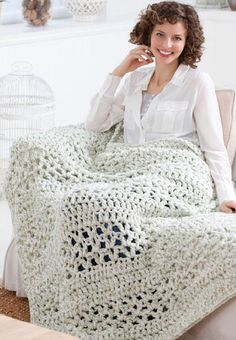 Red Heart® Super Saver® Super Quick Throw #crochet #pattern