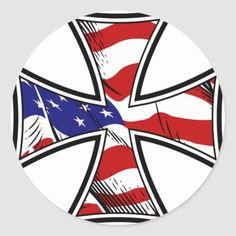 Iron Cross with American Flag Classic Round Sticker   sledding quotes, snowmobile quotes girl, biker babe style #bikerquote #bikelife #livetoride, 4th of july party American Flag Meaning, Cross Of Iron, Harley Davidson, Stain Glass Cross, Cross Flag, Biker Tattoos, Biker Shirts, Biker Quotes, Flag Art