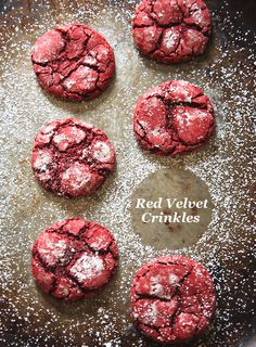 Red Velvet Crinkle Cookies #Holidays #Christmas #Cookies #Dessert