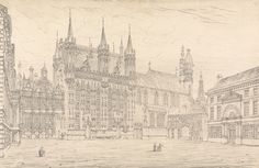 John Coney, 1786–1833, British, Hotel de Ville, Bruges, 1824, Graphite on medium, moderately textured, cream wove paper, Yale Center for British Art, Paul Mellon Collection  recto