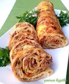 Yeşim'ce Lezzetler: PADİŞAH BÖREĞİ Turkish Recipes, Ethnic Recipes, Homemade Beauty Products, Pizza Recipes, Fresh Rolls, Bon Appetit, Cabbage, Food And Drink, Cooking