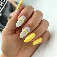 Nail Art Designs, Nail Polish Designs, Paint Designs, Cute Nails, Pretty Nails, Lcn Nails, Oval Nails, Yellow Nails, Beautiful Nail Designs