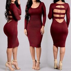 Sexy Women Long Sleeve Crew Neck Back Cut Out Slim Bodycon Dress