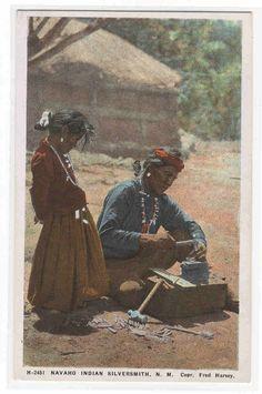 Navajo Indian Silversmith Fred Harvey 1920c postcard