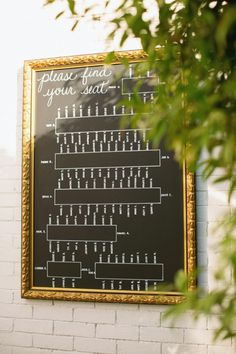 Chalk Reception Seating Chart (different frame!) for long tables with place cards already at seats!