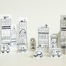 Printable toys. Paper city, paper Paris, paper road trip, paper cowboy, dressy cats, etc.