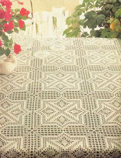 Tablecloth square motifs.