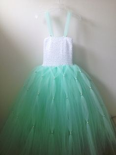Beautiful Mint Green N Pearls Flower girl by JamsGrandmasTutus, $54.99