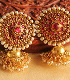 Find wide range of fashion jewellery, imitation, bridal, artificial, beaded and antique jewellery online. Buy imitation jewellery online from designers across India. Gold Jhumka Earrings, Gold Earrings Designs, Antique Earrings, Antique Jewellery, Silver Jhumkas, Hoop Earrings, India Jewelry, Pearl Jewelry, Gold Jewelry