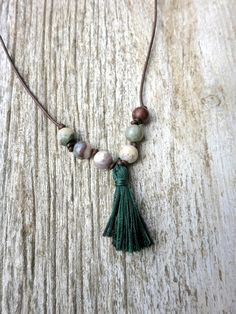 Tassel Necklace with Natural Stone Beads on Leather Cord