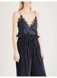 KENDALL & KYLIE - Lace-trim silk-satin camisole | Selfridges.com