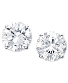Certified Colorless Diamond Stud Earrings in 18k White Gold (1-1/2 ct. t.w.) - Gold