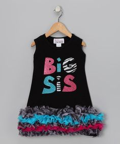 Help your little one show her 'Big Sis' pride. (And, there's a Lil' Sis one to match!)  Take a look at this Black & Aqua 'Big Sis' Ruffle Dress - Infant, Toddler & Girls by Sparkle Couture on #zulily today!