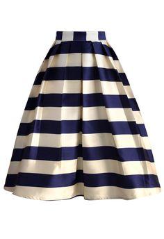 Marine Blue Striped Midi Skirt - New Arrivals - Retro, Indie and Unique Fashion