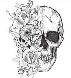 Cool Skull Tattoos For Women – My hair and beauty Floral Skull Tattoos, Small Skull Tattoo, Skull Tattoo Flowers, Sugar Skull Tattoos, Skull Tattoo Design, Flower Skull, Flower Tattoo Designs, Flower Tattoos, Feminine Skull Tattoos