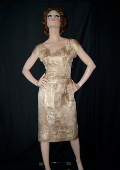 df18666e4f1e Items similar to Vintage 1950s Dress   50s Peggy Hunt Metallic Satin Brocade  Dress   Gold Floral Cocktail Party Dress - Medium on Etsy