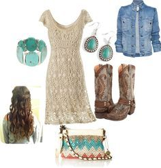 Cowgirl Style Fashion:::my style///lace dress///with jean jacket///and cowgirl boots! Country Western Outfits, Country Girls Outfits, Country Fashion, Cowgirl Outfits, Western Wear, Cowgirl Dresses, Cowgirl Fashion, Country Prom, Cowgirl Clothing