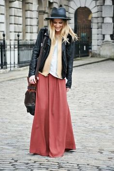 long skirt, layering, boyish jacket and accesories