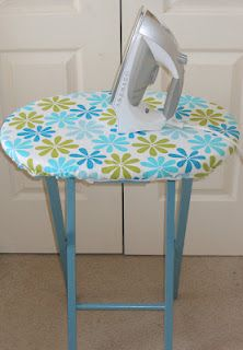 Mini craft ironing board out of a folding TV tray.